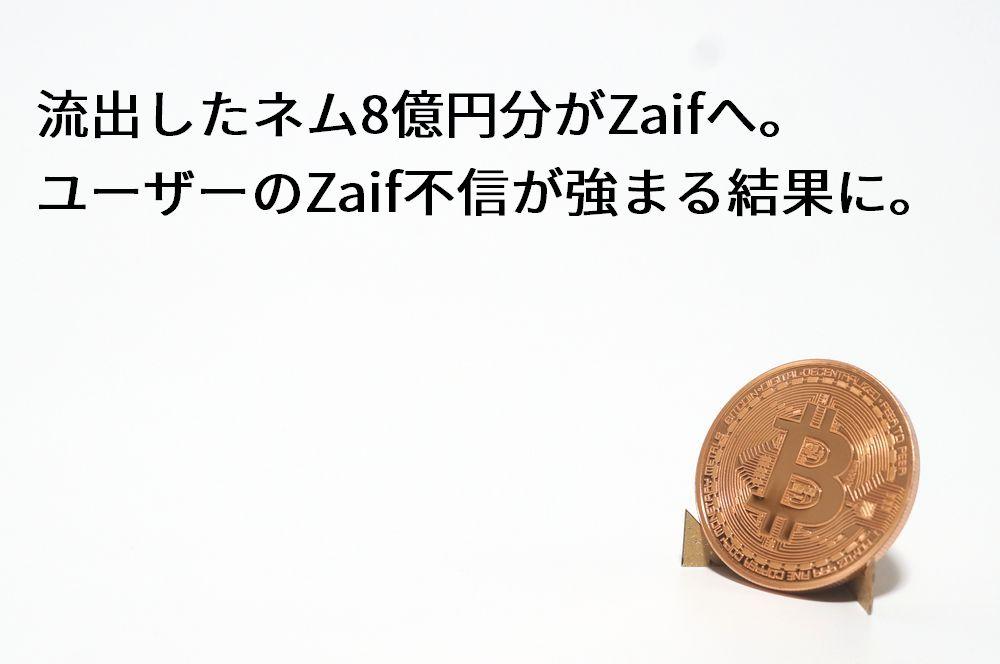Coincheckから流出したネム8億円分がZaifへ。ユーザーのZaif不信が強まる結果に。