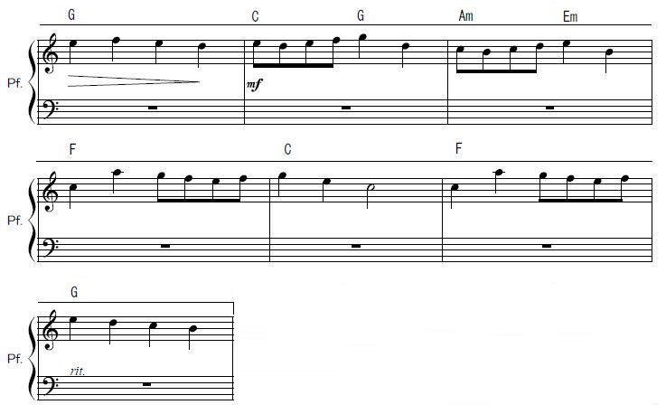 サビ部分の楽譜