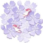 イラスト-桜と妖精(ブルー)