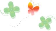 無料イラスト-クローバーと蝶々