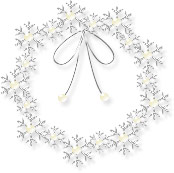 無料イラスト:雪の結晶のリース
