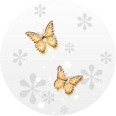 透明感のあるイラストー蝶(オレンジ)