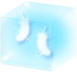 透明感のあるイラストーboxに入った羽(ブルー)