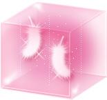 透明感のあるイラストーboxに入った羽(ピンク)