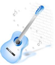 透明感のあるイラストーギター(ブルー)
