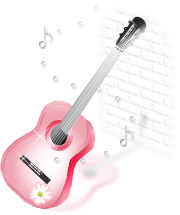 透明感のあるイラストーギター(ピンク)