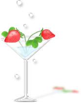 透明感のあるイラストーグラスに苺