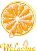 イラスト-クリスタルなオレンジ(文字入りwelcome)