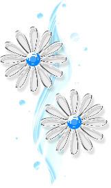 透明感のあるイラストー花(ブルー)