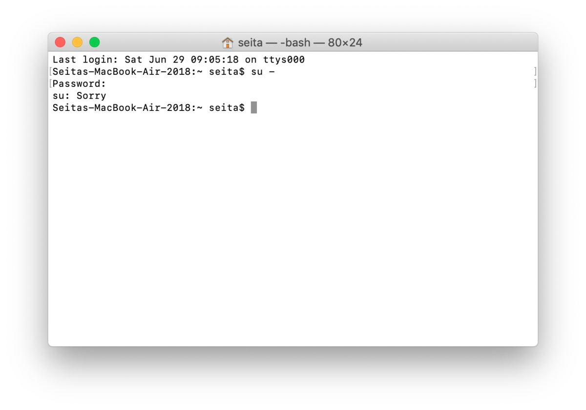 Mac】ターミナルでrootユーザで作業する<sudo su -> - Seita developer