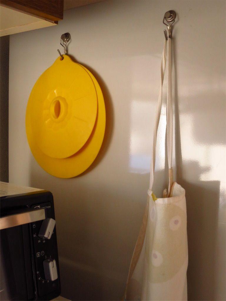 冷蔵庫側面にマグネットフックで吊るす
