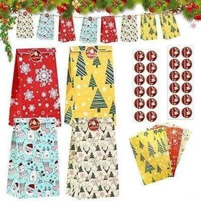 Kesote クリスマス ラッピング袋 紙袋 角底 ペーパーバッグ プチギフト ギフトバッグ 24枚 11.8x8x22cm 24枚封かんシール付き