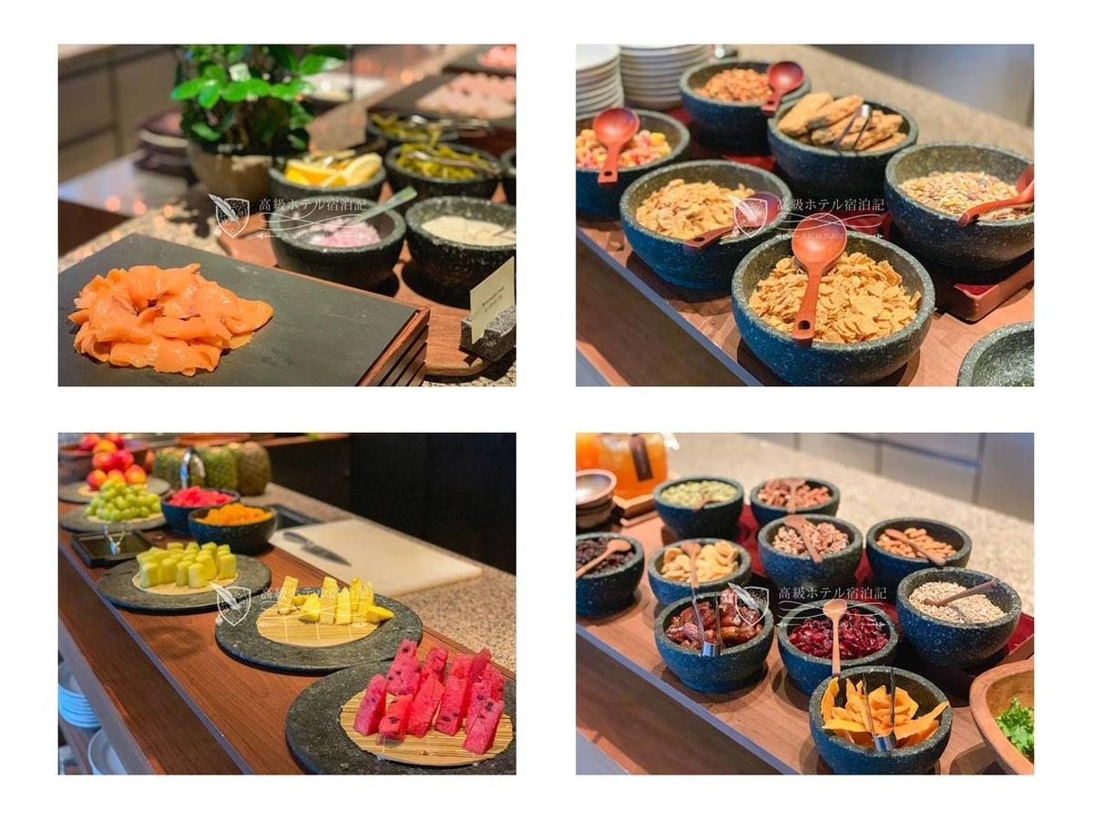 パークハイアットソウル コーナーストーン:韓国料理だけでなくサーモン、シリアル、果物、ドライフルーツなど高級ホテルの定番料理も取り揃えてあります。