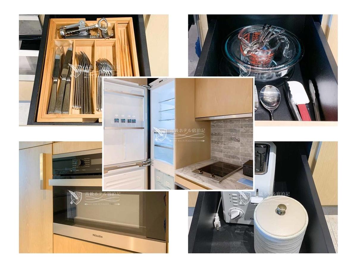 全客室に冷蔵庫(冷凍庫付き)、IHヒーター付きキッチン、オーブン、調理器具、食器を用意。