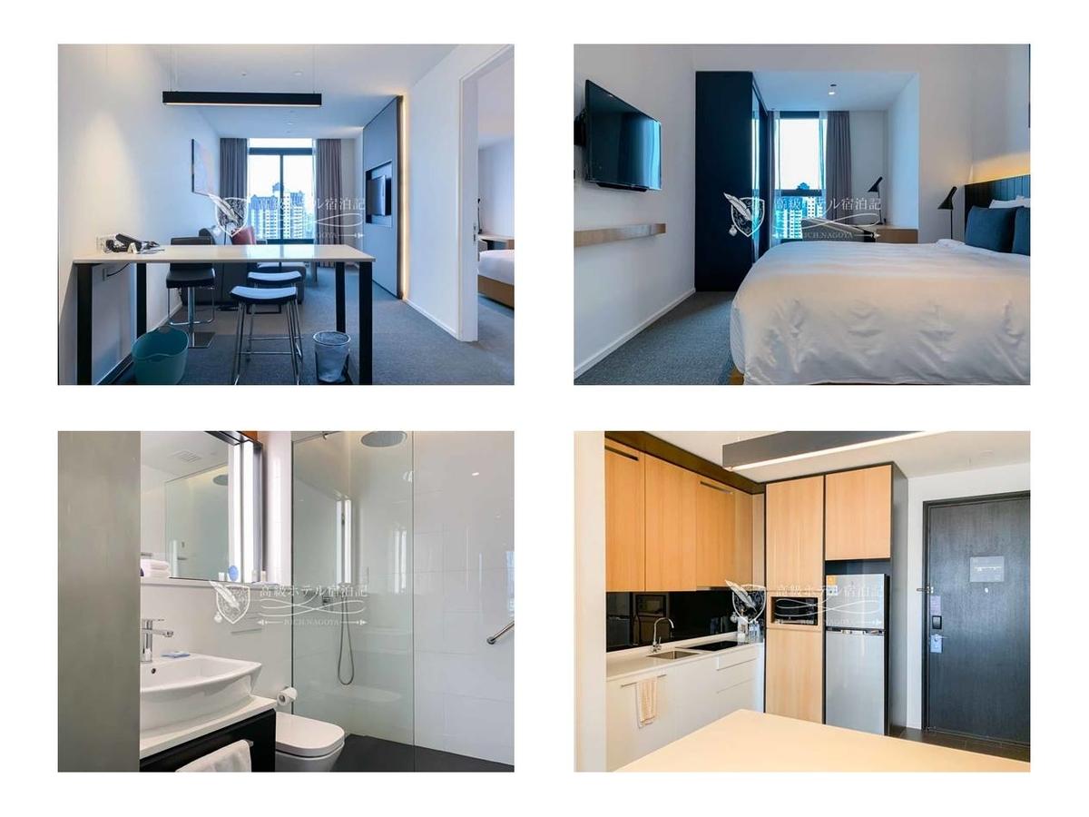 Hyatt House Kuala Lumpur 客室は(一部を除いて)、IHクッキングヒーター、電子レンジ、大型冷蔵・冷凍庫、ビルトイン食洗器付きのキッチンが搭載されたレジデンスタイプ。