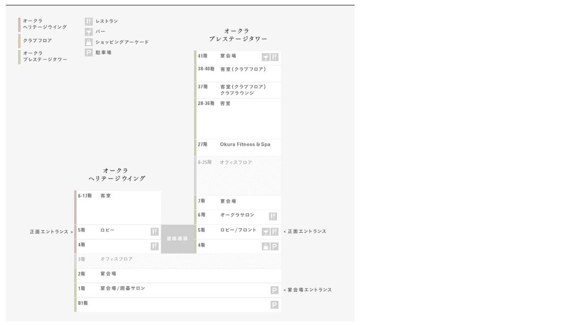 The Okura Tokyo(オークラ東京)館内マップ