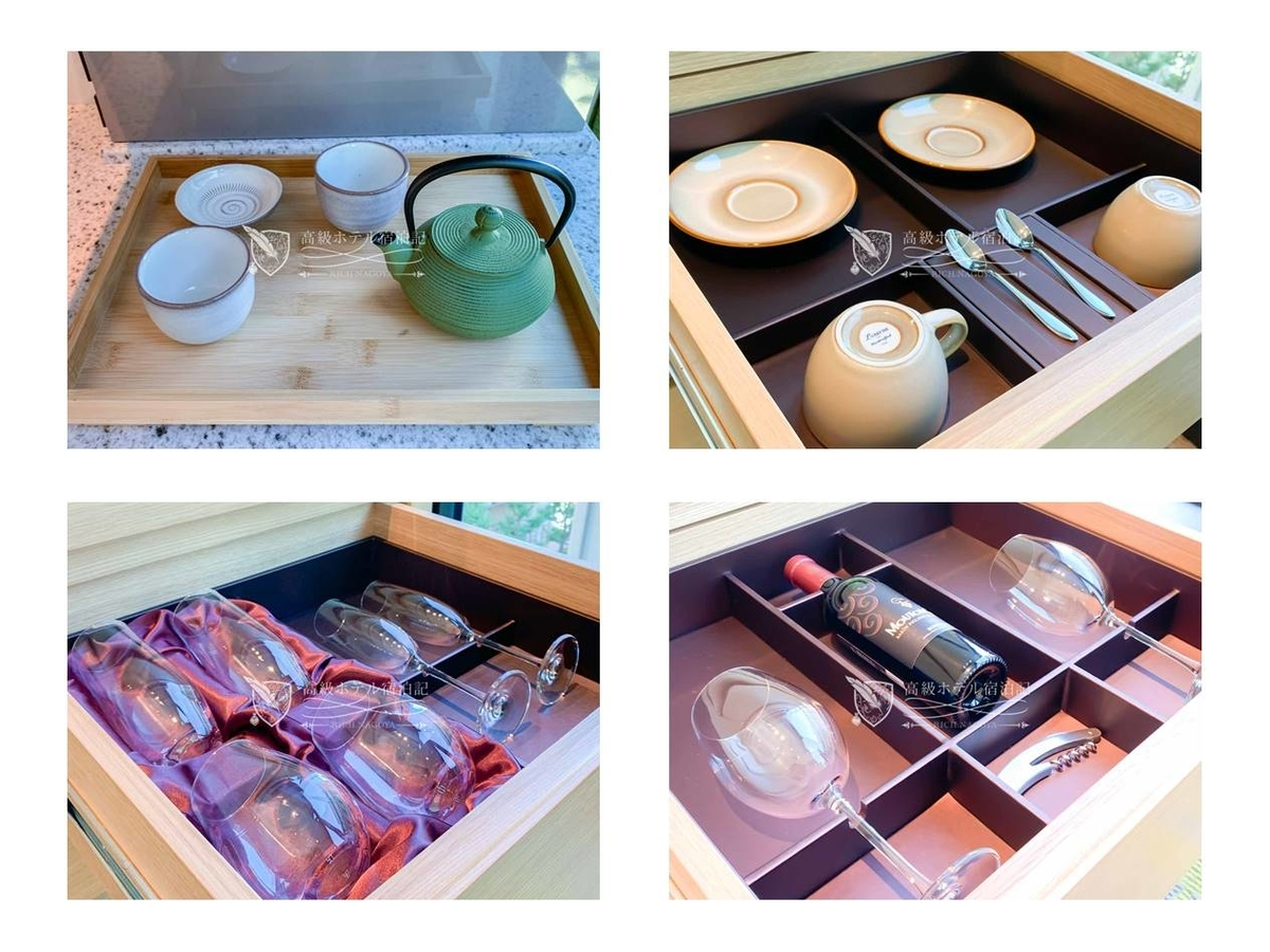 都ホテル 博多:ミニバーエリアに収納された食器類。湯呑、コーヒーカップ、タンブラー、シャンパン&ワイングラス。
