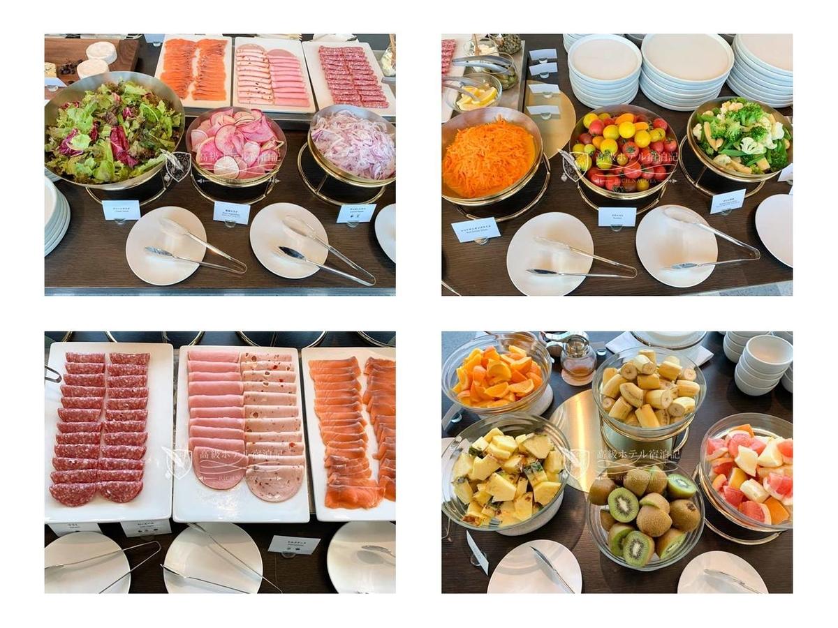 都ホテル 博多:洋食ビュッフェの料理。この中だと右上のヤングコーンと左下のキウイが特に美味しかった。
