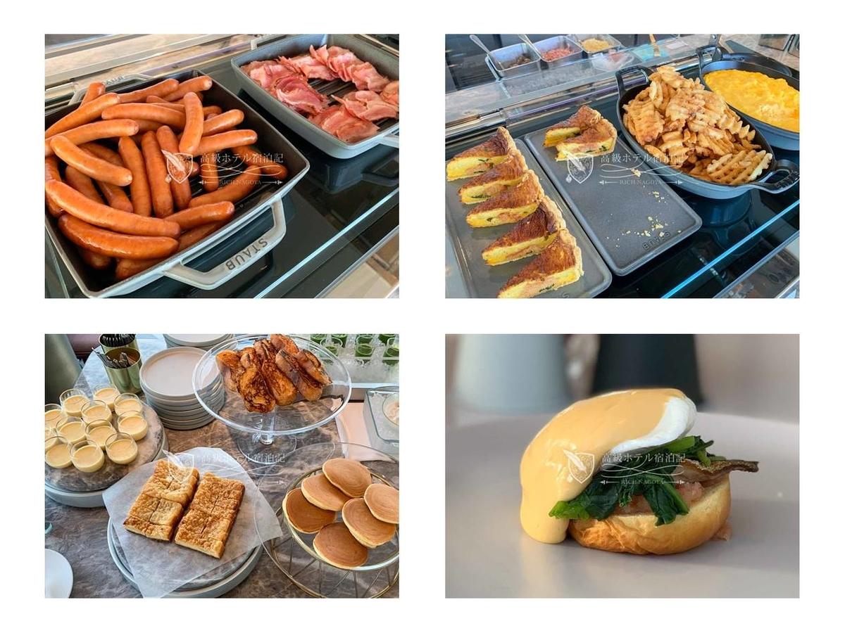 都ホテル 博多:洋食ビュッフェの料理。ソーセージ、ベーコンなどのホットミールは全部美味しい。デザートのパンケーキはホイップクリーム&メープルシロップとの組み合わせがおすすめ。アラカルト料理で注文した鰯明太エッグベネディクトは普通。