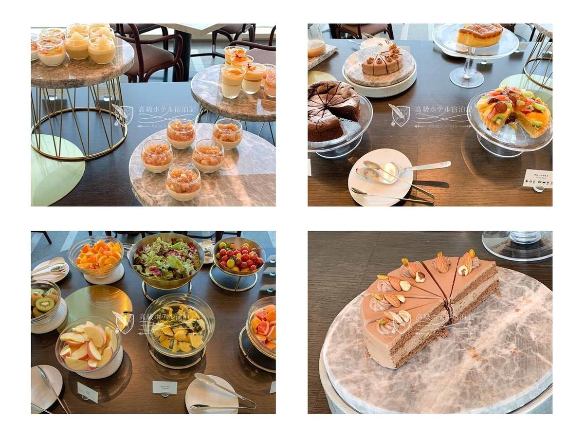都ホテル 博多:ティータイムのスイーツ。右下のチョコレートケーキがお気に入り。