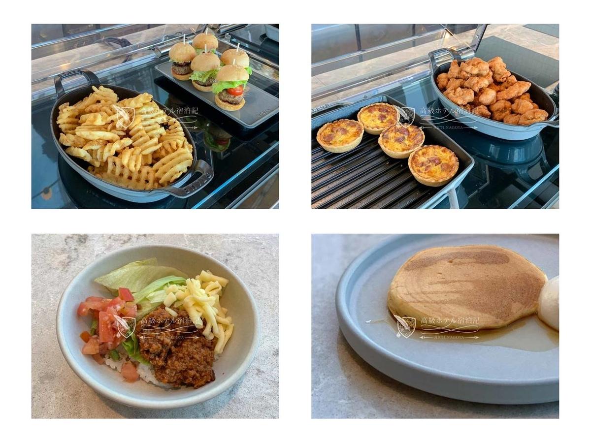 都ホテル 博多:フライドポテト、ハンバーガー、キッシュ、フライドチキン等のホットミールも美味。ビュッフェの場合、時間が経つにつれて揚げ物の劣化が著しいが、しっかり補充と交換をしているのか、表面がいずれもサクサク高鮮度で食べられた。左下はライスにトマト、ミートソース、チーズ、レタスをまぜたタコライス。パンケーキはシェフに注文するとテーブルまで届けてくれる。味付けがシンプルで良い。