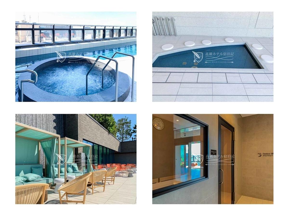 屋上温泉スパ:温泉プール、ジェットバス、足湯、採暖室