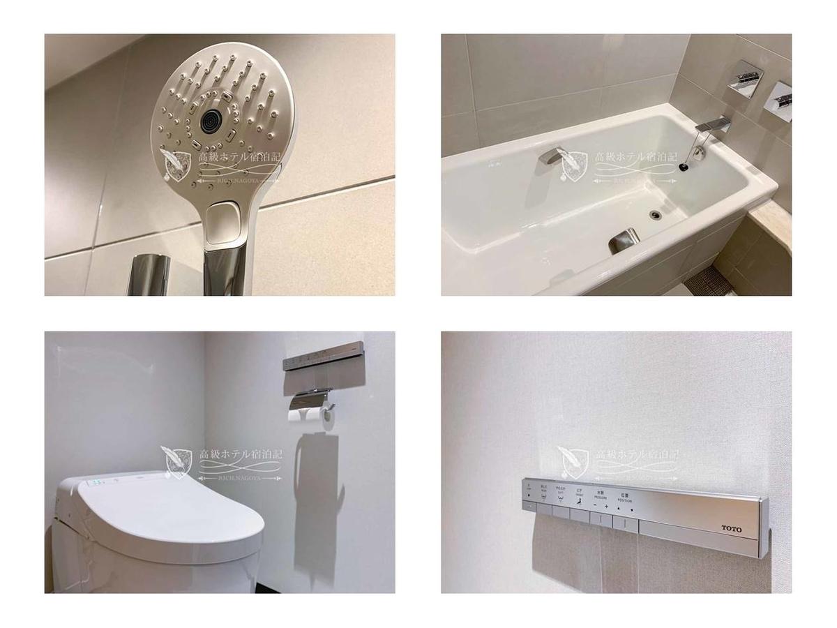 都ホテル 博多:シャワーはハンドタイプ。セレクトボタンで水勢の強いモードに切り替えることでストレスなく利用できた。個室にあるトイレは、ウォッシュレットの付いたTOTO製。