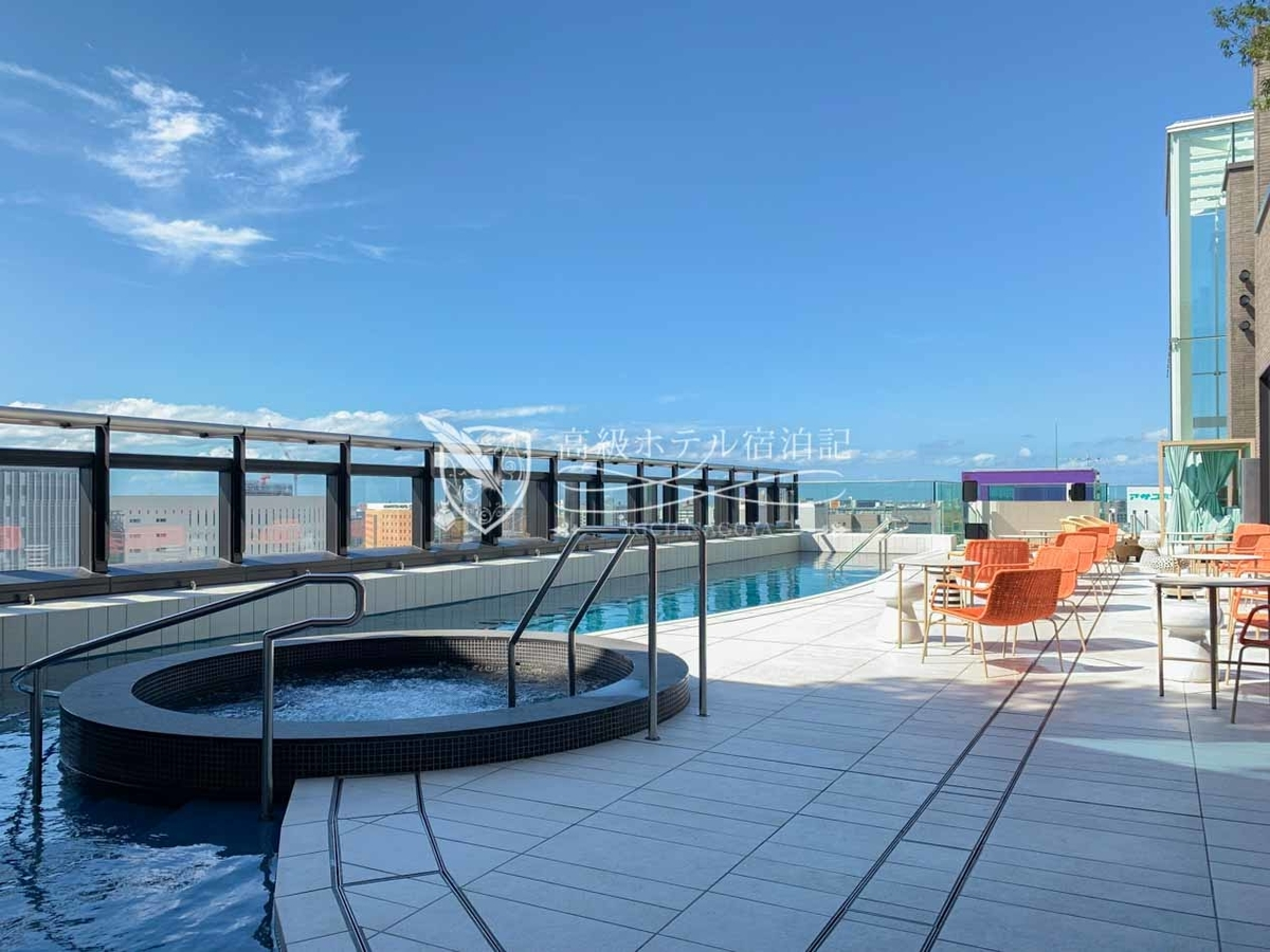 都ホテル 博多:屋上温泉スパ:温泉プールとジェットバス(手前)