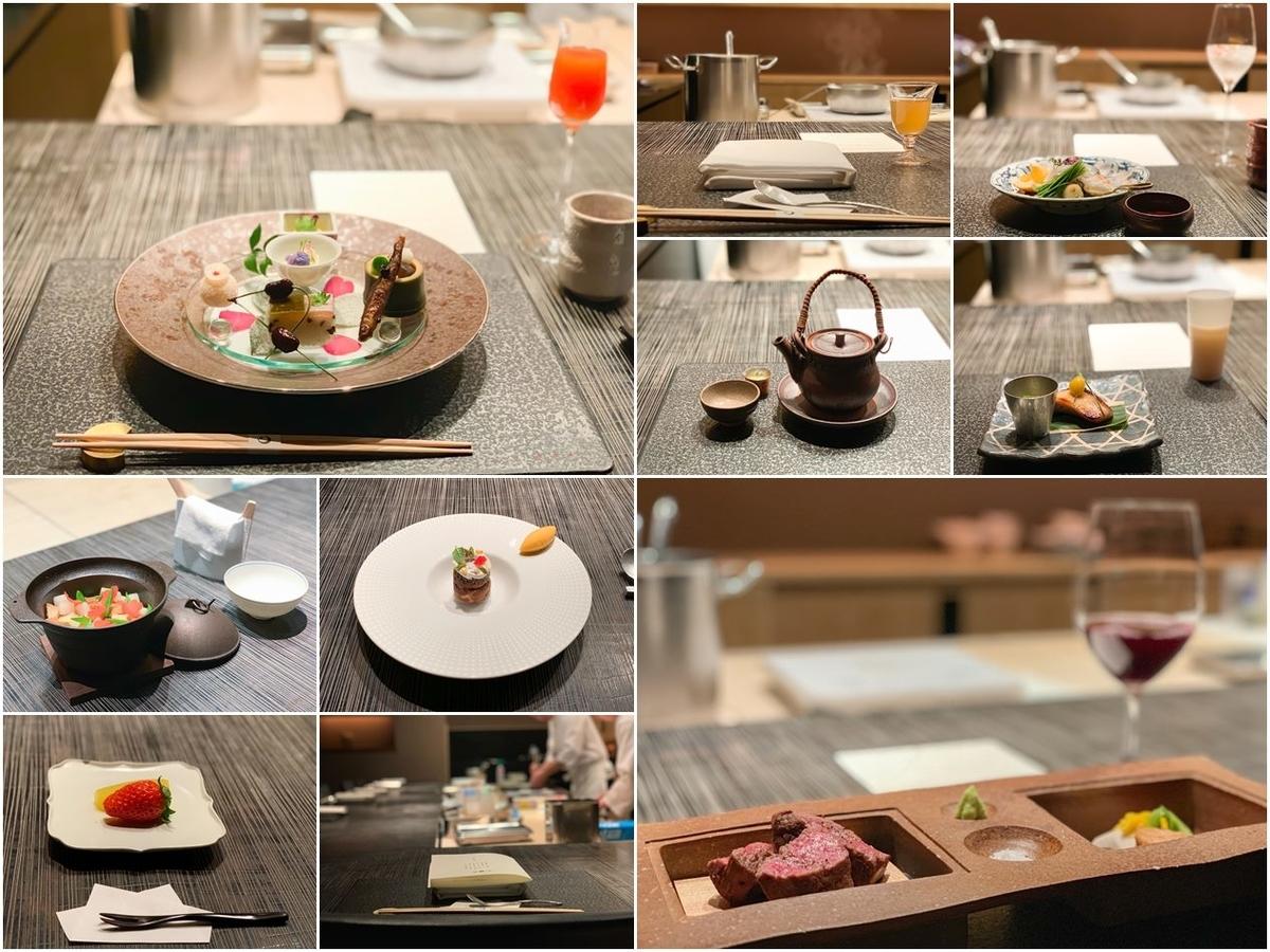 ダイニングでの創作京会席ディナー(20,000円/税サ別)はパーフェクトな美味しさ!内容は原則月替わり。別途ワインやモクテルのペアリングサービスあり。人生初のモクテルペアリングを堪能!