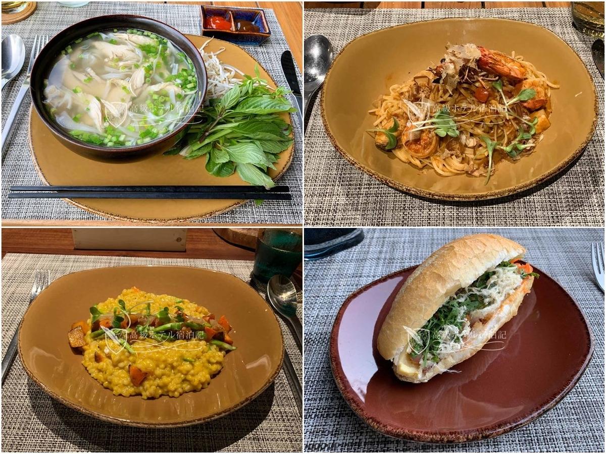 レストランの食事はフォーやバンミーといったベトナム料理は美味しいが、洋食は美味しくなかった(個人な感想)。また、パスタなどの中には独創的すぎてメニューの文面から内容が想像できない料理もあって困った。朝食はフォーとバンミーが食べ放題。