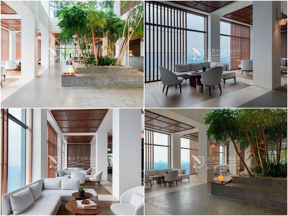客室数は143、かつ繁華街から離れた場所にあるため41階のロビーは終始落ち着いた雰囲気。