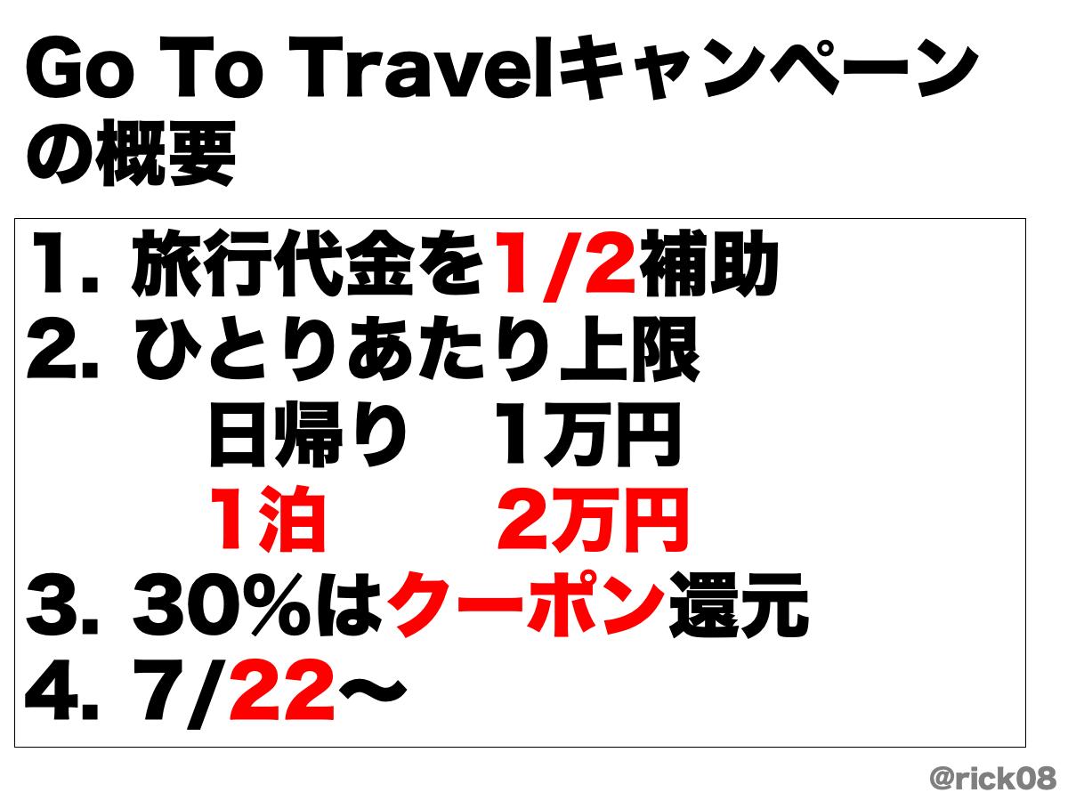 Go To トラベルの概要。旅行代金の半額を補助。ただし、補助される金額のうち30%相当はクーポンで還元される事になっている。
