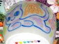 マグカップに猫描き体験。(ミカエル猫・赤黄緑青銀白紫)