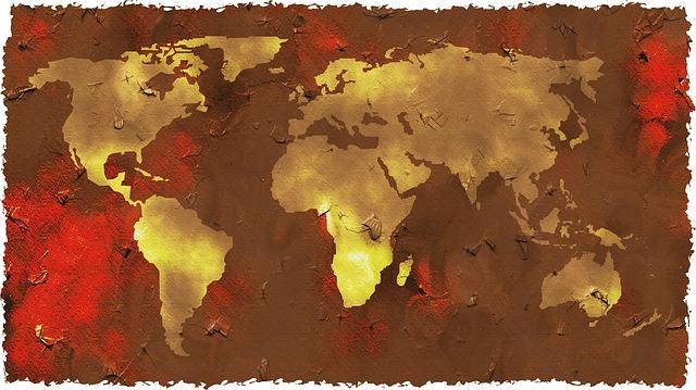 大陸が金色の世界地図