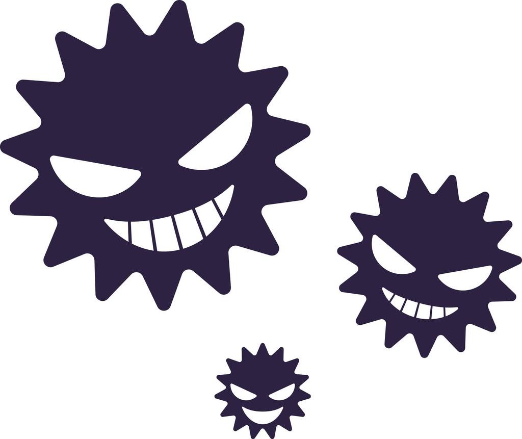 顔が描かれた3つのウイルスのイラスト