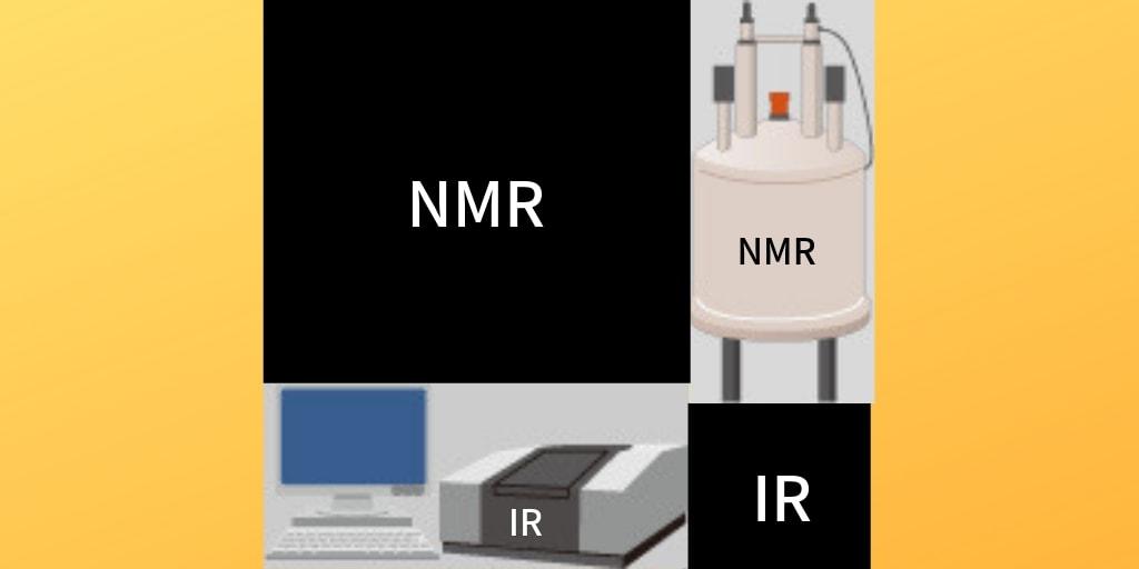 NMR、IRのイラストと黒い背景にNMR、IRの白い文字