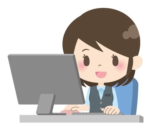 女性社員がパソコンを使った業務をしてるイラスト