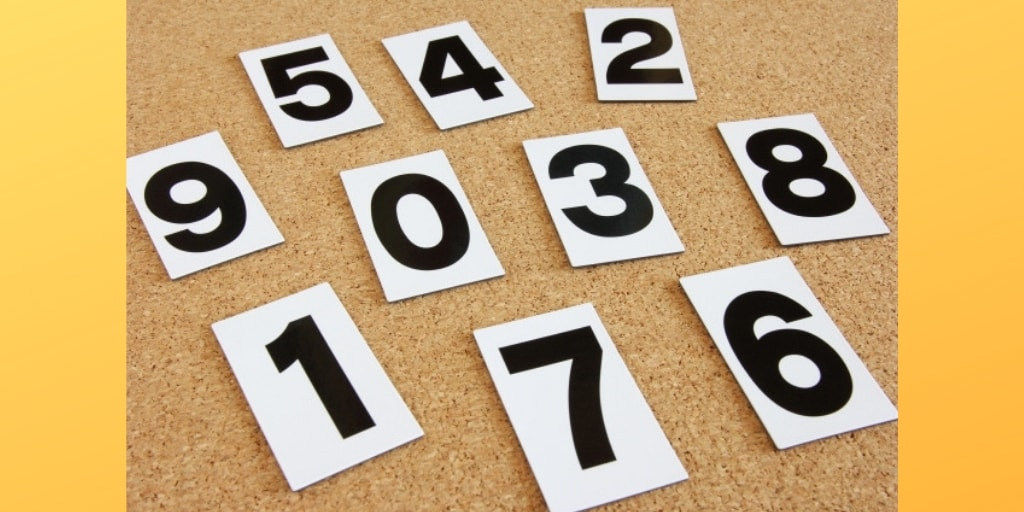 1から9までの数字とオレンジ色の背景