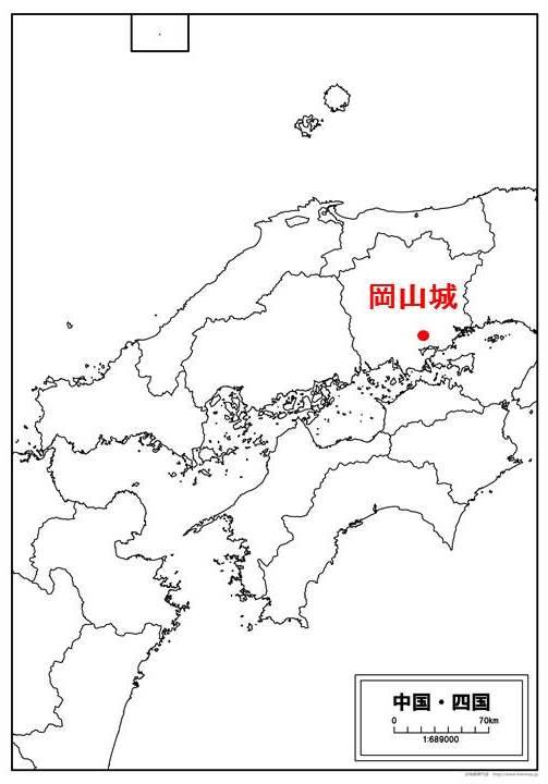 岡山城の位置