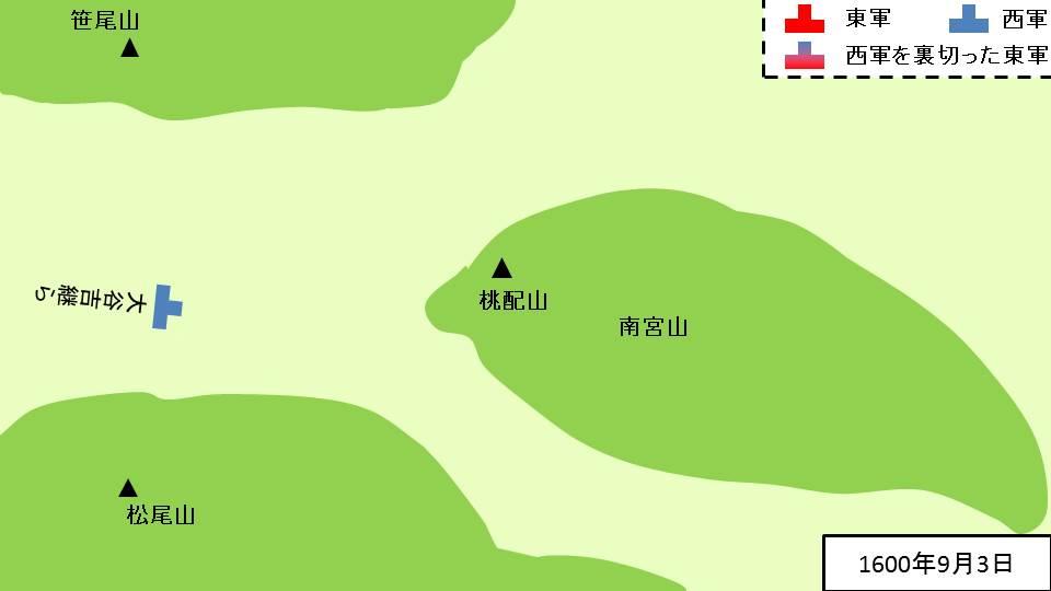 1600年9月3日の関ヶ原での布陣図