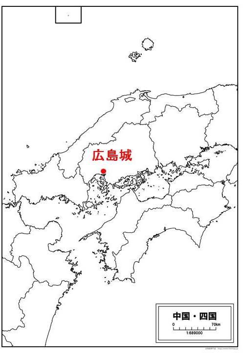 広島城の位置を示す地図