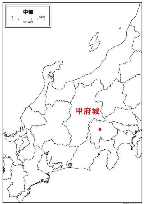 甲府城の位置を示す図
