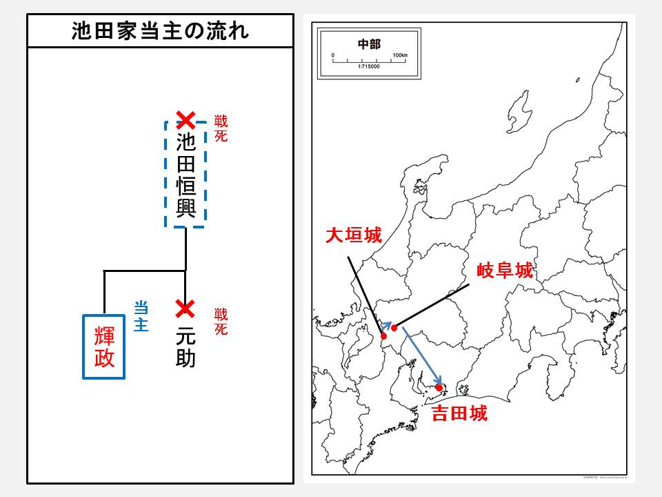 池田家当主の流れと輝政が居城とした城の位置を示す図