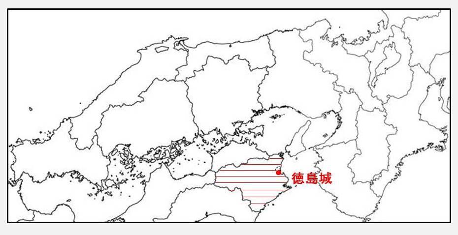 蜂須賀家政に与えられた所領と居城を示す図