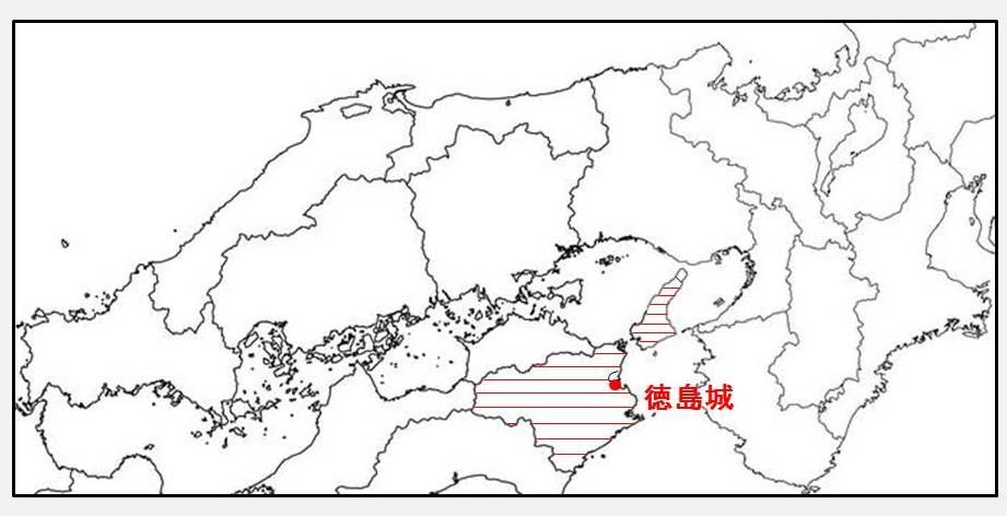 蜂須賀至鎮の所領を示す図