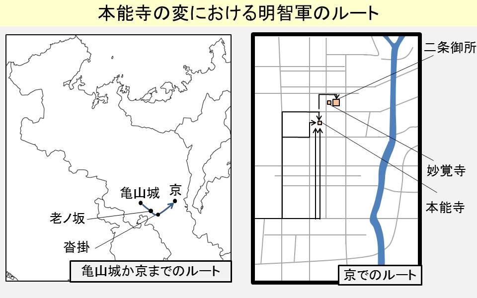 本能寺までの明智軍のルート示す図