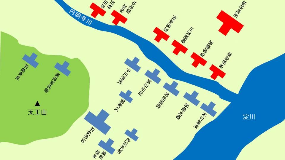 山崎の戦いにおける布陣図