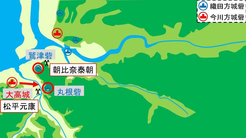 今川軍が鷲津砦と丸根砦を攻める図