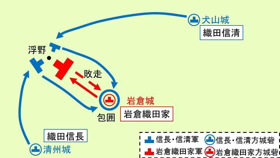 浮野の戦いにおける各軍の動きを示す図