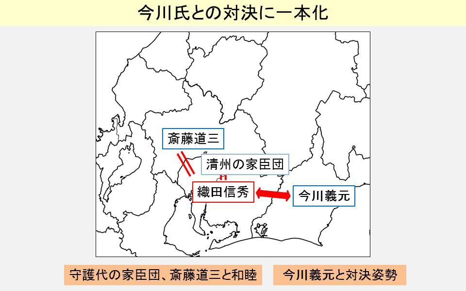 美濃斎藤氏、清州の家臣団との和睦を示す図
